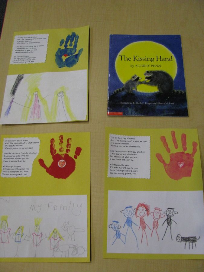 Kissing Hand - First Day of School: Idea, Back To Schools, Art Crafts, Footprint Art, First Week, The Kiss Hands, Art & Crafts, The Kissing Hand, Hands Crafts