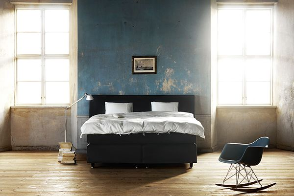 decor: Lights, Beds Rooms, Rocks Chairs, Rockers, Blue Wall, Interiors Design, Eames, Bedrooms, Distressed Wall