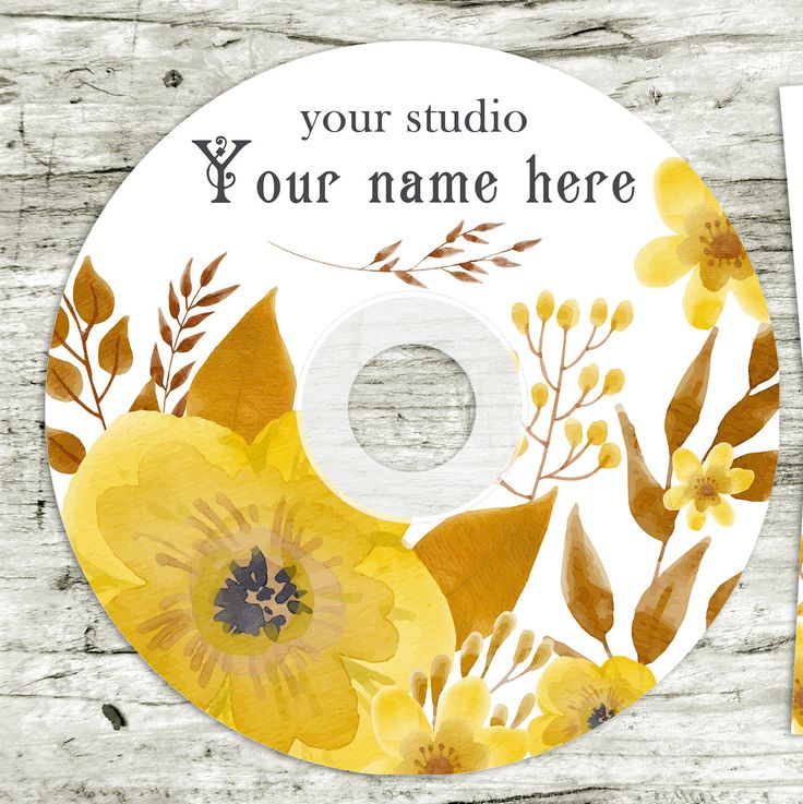 Wedding CD/DVD Label Template, Flowers pattern, Wedding Label,  Instant Download. Boho. Watercolor by CameraClick on Etsy