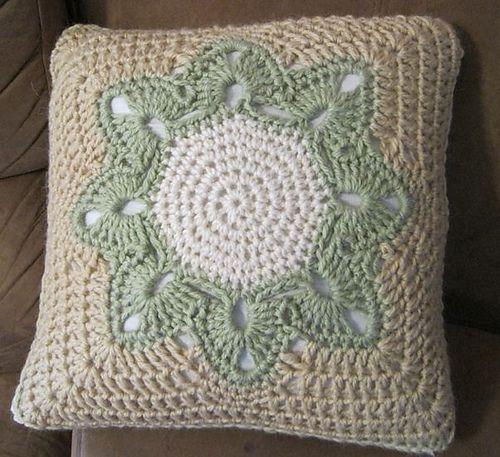 Pretty crochet pillow