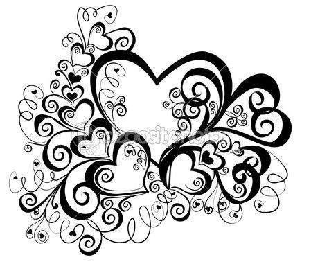 coeur avec l'ornement floral, élément de conception, image vectorielle