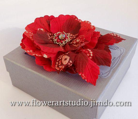 Red+fabric+flower+hair+pin+%2F+brooch%2C+Red+silk+flower%2C+Flower+for+sash%2C+Bridesmaid+hair+clip%2C+Flower+hair+clip%2C+Mother+of+a+bride+brooch.