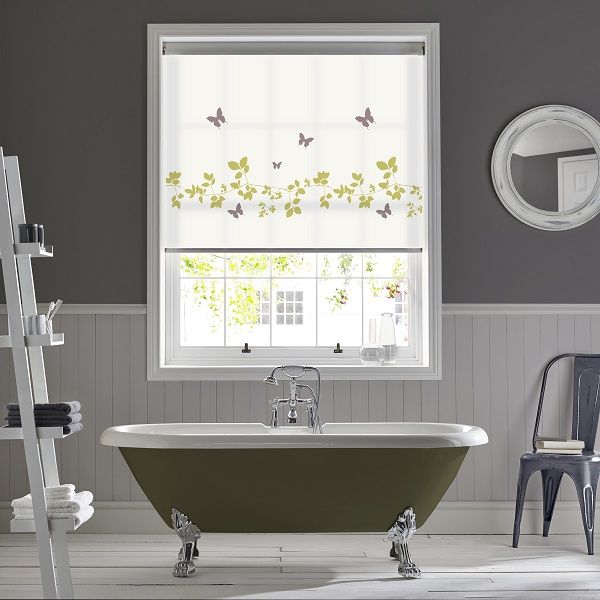 Vine Butterfly roller blinds by Style Studio. Bathroom blinds. Roller blinds. Modern bathroom ideas. Contemporary inspiration for bathroom decor.