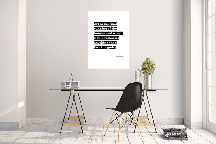 """""""Art is the final cunning of the human soul which would rather do anything than face the gods."""" by Iris Murdoch printed on high quality matte paper available in different sizes"""