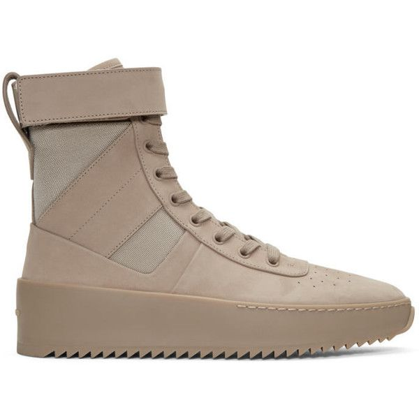 Fear of God Beige Military High-Top Sneakers ($1,435) ❤ liked on Polyvore featuring men's fashion, men's shoes, men's sneakers, beige, mens nubuck shoes, mens perforated shoes, beige mens dress shoes, mens velcro shoes and mens canvas sneakers