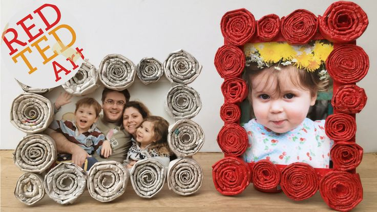 Fun and easy newspaper frame - a great upcycled project - turn old newspapers into gorgeous frames - great gifts kids can make!
