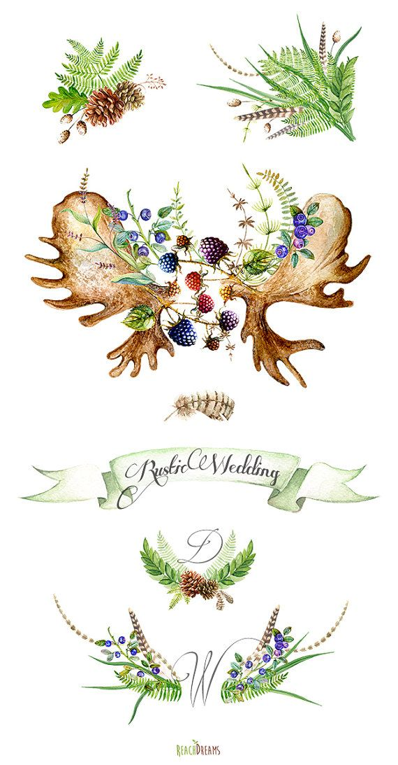 Watercolor Wedding Rustic ClipArt. Hand Painted by ReachDreams