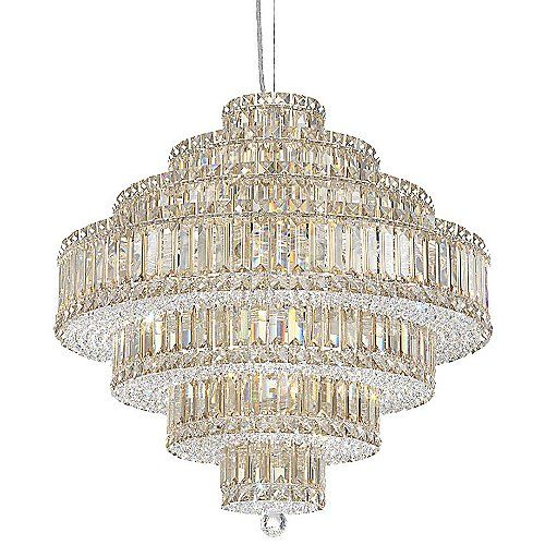 Infinite brilliance and modern style come courtesy of an intricate weave of rectangular, square and octagonal crystals. The Schonbek Lighting Plaza Suspension features gradating tiers of densely configured Swarovski crystal: ELEMENTS in a variety of colors or SPECTRA in Clear. Also available in a range of sizes to add sparkle to any size space.