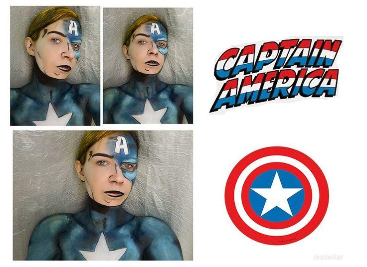Avengers : Captain America #makeup #artisticmakeup #facepainting #bodypainting #marvel #avengers #captainamerica #steverogers
