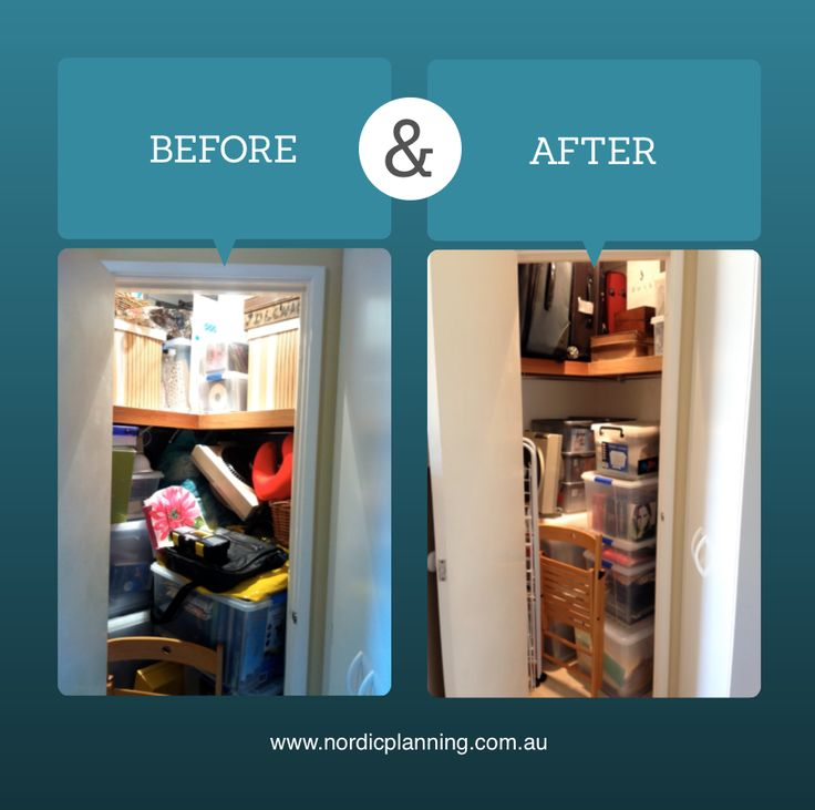 Before & After: Spare cupboard in total chaos with no systems turned into a functional organised area for items that are not so often retrieved.  Kaarin, Professional Organiser at Nordic Planning in Perth