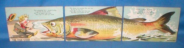 VINTAGE 1906 FISH STORY 3-PART INSTALLMENT PUZZLE POSTCARD