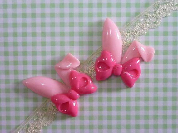 2 pcs Bunny Rabbit Ear Cabochon Kawaii  Pink Bunny by forestdiy, $1.24