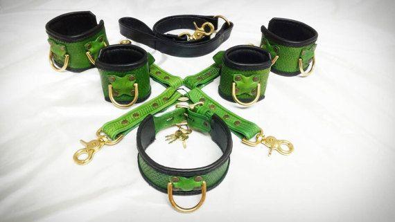 Handmade Leather BDSM Set/Mature/Dragon Scale/ BDSM Collar/BDSM Cuffs/Slave Collar/Slave Cuffs/Submissive Collar/Sub Collar/Hog Tie