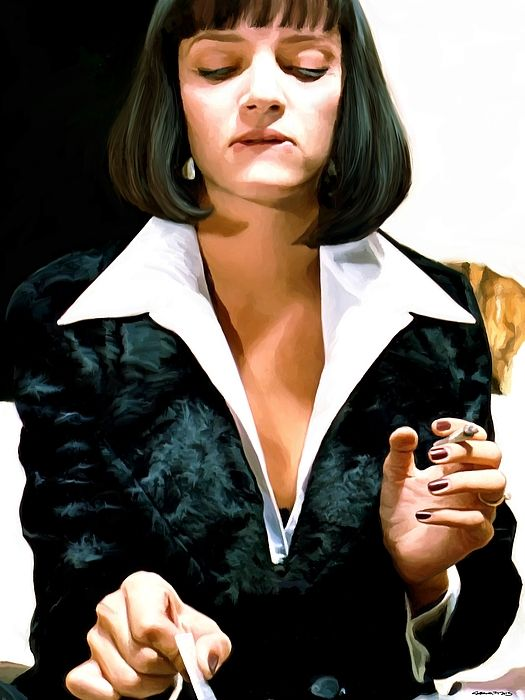 """Uma Thurman as Mia Wallace in the film """"Pulp Fiction"""" (Quentin Tarantino - 1994) Vincent Vega and Marsellus Wallace's Wife Large Size Digital Painting Size: W 120 cm - H 60 cm"""