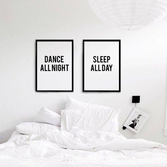 Dance All night/ Sleep All Day Set of 2 Wall Art, Typographic Art, Scandinavian Print Set, Black And White Digital Download, Bedroom Decor