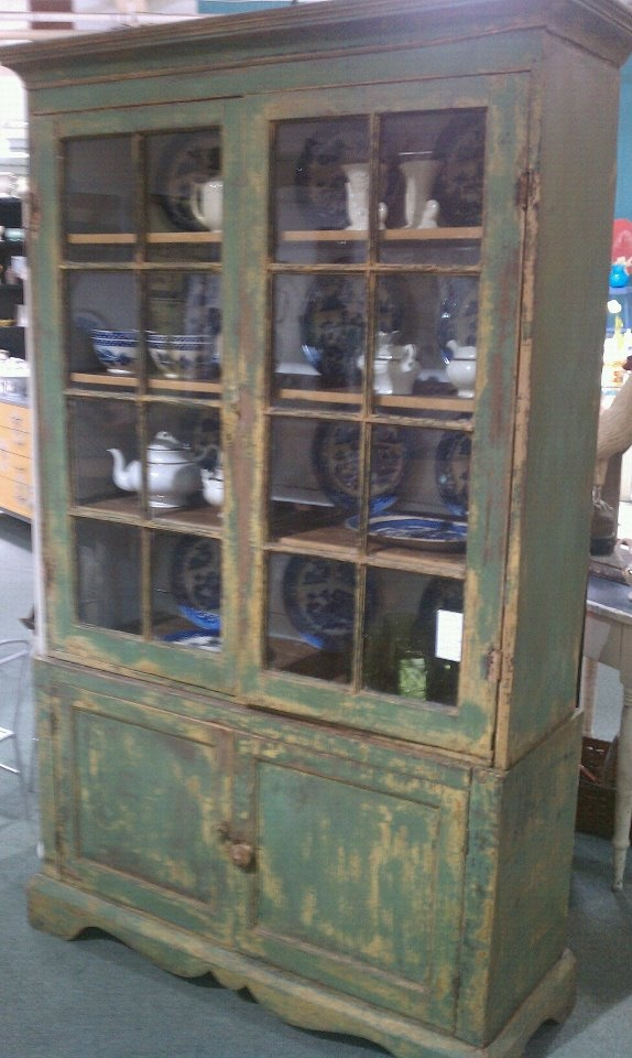 A late 18th or early 19th century Shenandoah Valley flat wall cupboard with original green paint