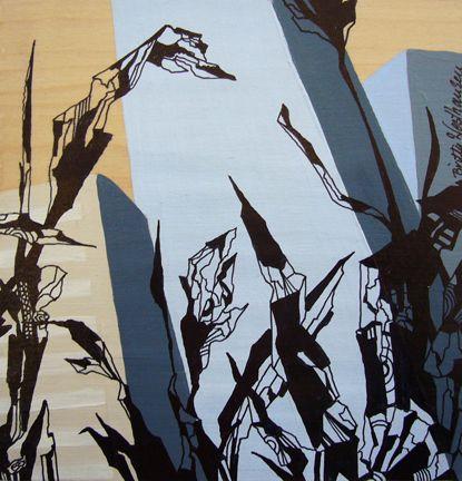 URBAN FARMING (C). Ink and acrylic on veneer, 15x15 cm