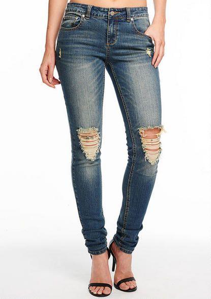 Revolt Destructed Skinny Jean - Plus Size Jeans - Alloy Plus - Alloy Apparel