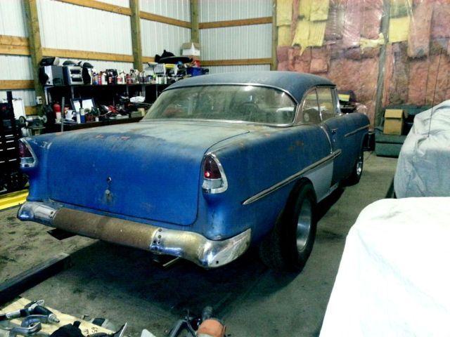 55 Chevy Bel Air 2 dr hardtop hot rod project, gasser, rat