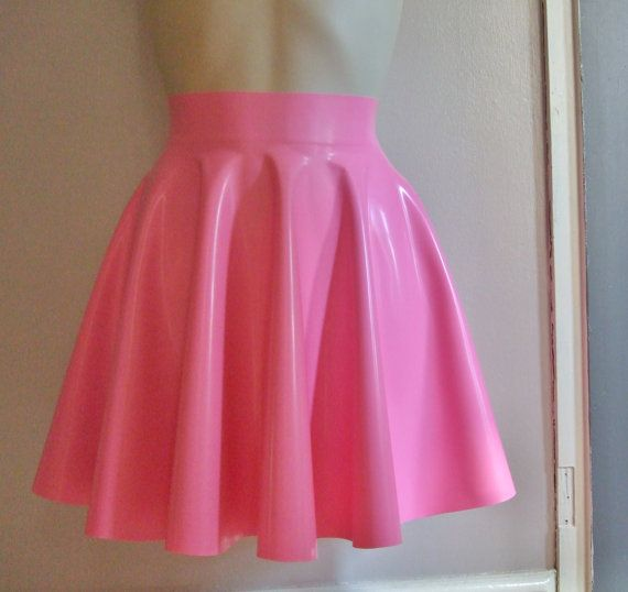 latex rubber pink skater skirt on etsy