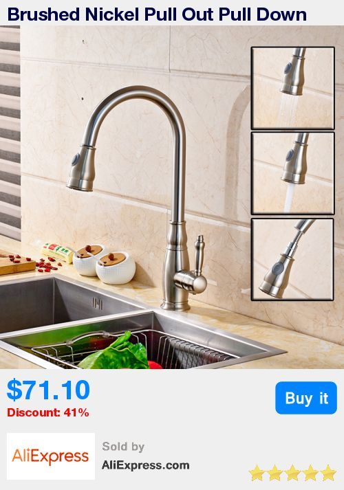Brushed Nickel Pull Out Pull Down Sprayer Kitchen Faucet Single Handle Deck Mounted Rotation Kitchen Sink Mixer Taps * Pub Date: 20:24 Jul 11 2017
