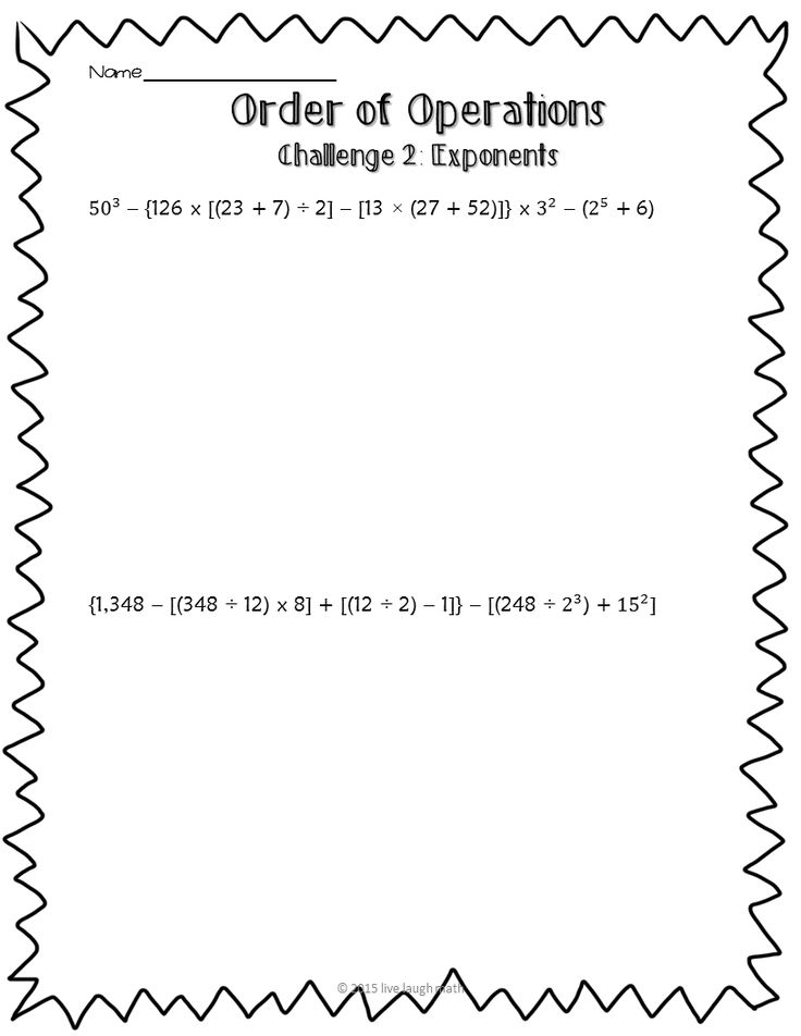 Order of Operations Challenge FREEBIE- great for early finishers/gifted students