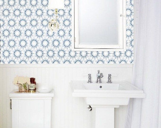 Removable Wallpaper Blue White Peel Stick Wallpaper Self Etsy Bathroom Design Removable Wallpaper Peel And Stick Wallpaper