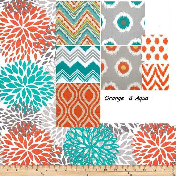 Throw Pillows Aqua Orange Decorative Blue Pillow Cover 18