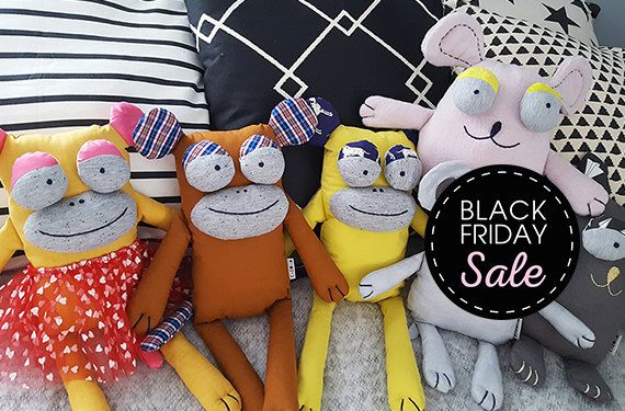 Black Friday Sale 20% off Sweet Monkey - Stuffed animals & plushies, christmas and birthday gift, jungle by Kakuma, kids toys, by KAKUMAstore on Etsy