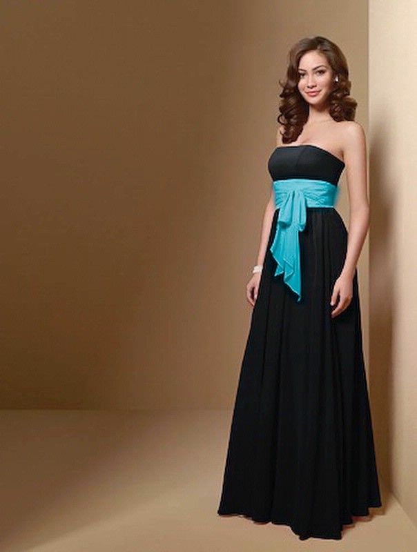 Black bridesmaid dresses with colored sash top 100 black for Blue and black wedding dresses