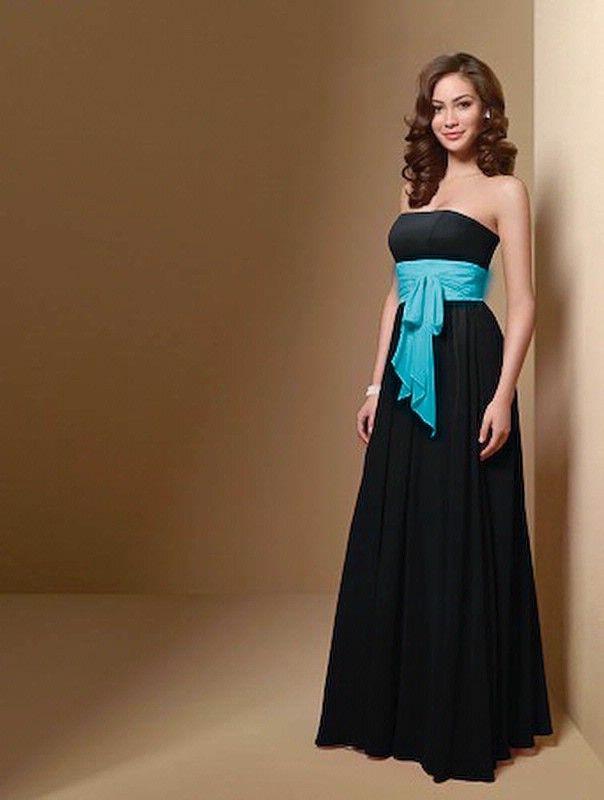 black bridesmaid dresses with colored sash   Top 100 Black ...