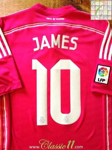 Official Adidas Real Madrid away football shirt from the 2014/2015 season. Complete with James #10 on the back of the shirt and La Liga patch on the sleeve.