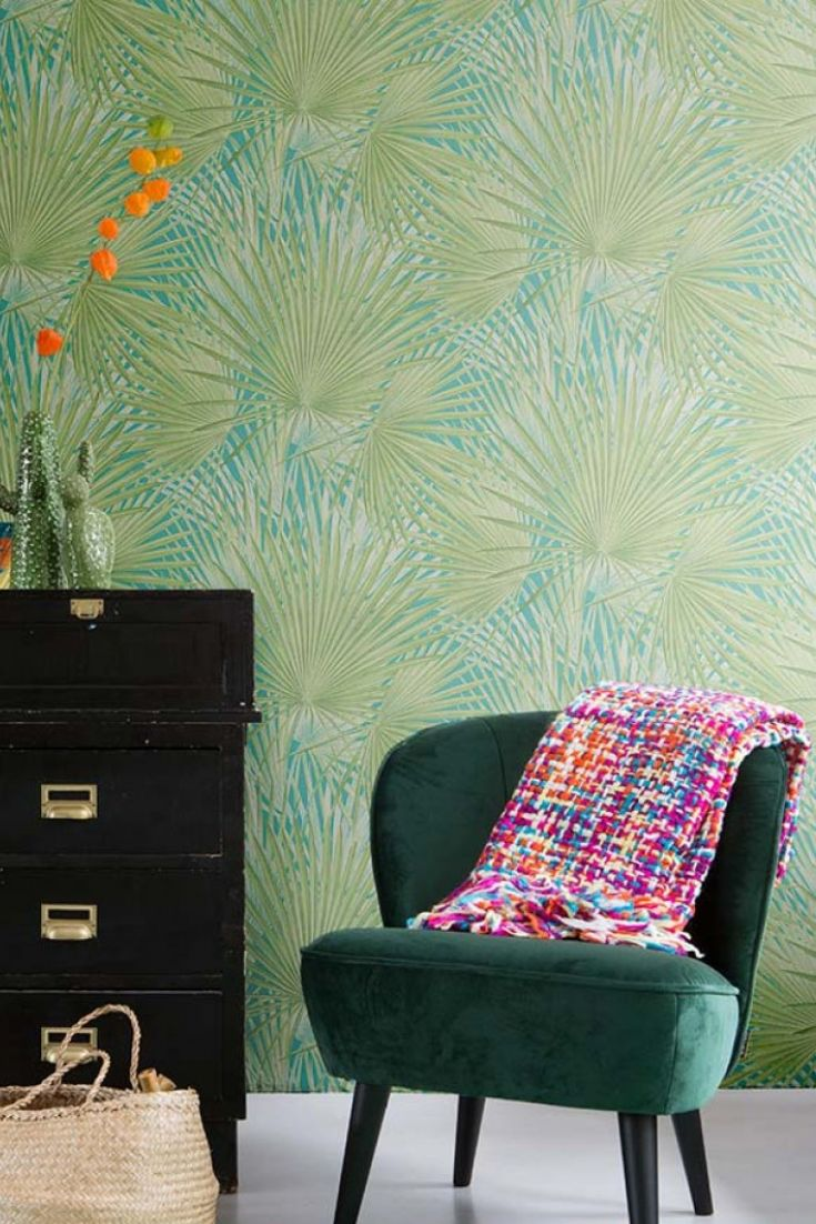 Iboka Papier Peint Tropical Turquoise Wallpaper