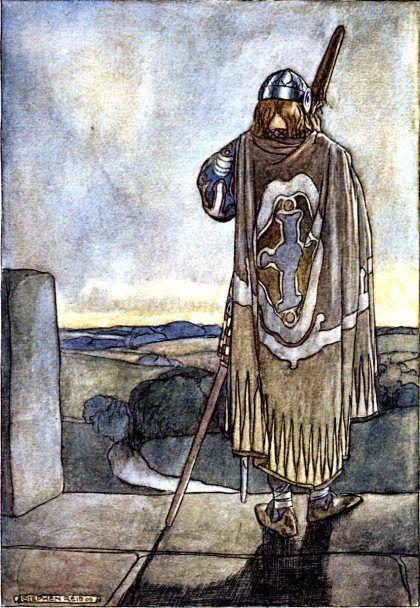 """Fionn mac Cumhaill: """"Finn heard far off the first notes of the fairy harp"""" (Íomhá: Stephen Reid, 1910)"""