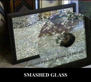 Smashed Glass Art, Custom Framed Mirrors, Glass Jersey Boxes at Airdrie Winshield & Glass