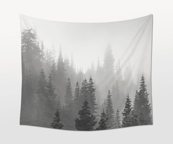 Fog Trees Tapestry, Black White Art, Landscape Photo. Photo by Mark Windom.  DETAILS This is a printed wall hanging made of woven. Perfect for
