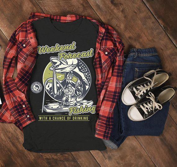 dd86b44f Men's Funny Fishing T-Shirt Weekend Forecast Shirt Drinking Fisherman