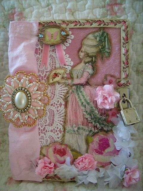 diary,altered art,french,cottage,shabby,cottage,victorian,marie antoinette,lock, journal 1