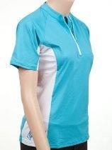 XCel Eco Ventx Womens Shortsleeve Zip-neck Sun Shirt: Breathable Activewear shirt