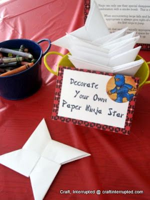 Awesome Idea!!!!!Craft, Interrupted: Ninjago / Ninja Party Game - Paper Ninja Star Throwing Practice -- if the oragami doesn't work then we could cut them out of cardboard and toss them through hula hoops!