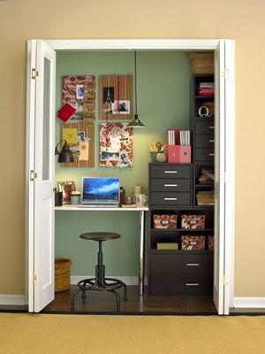 Bifolding doors and a stool make this office space saver. The boards add a pop of inspiration.