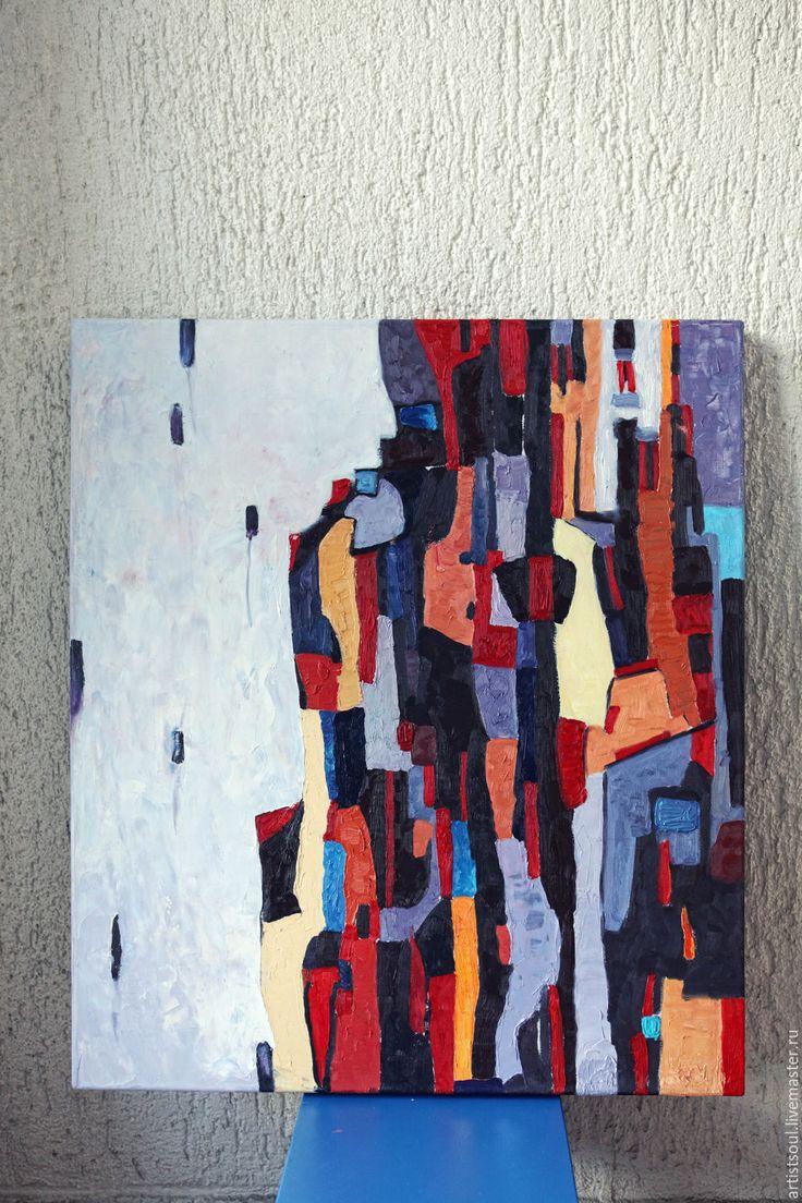 Купить Абстрактная живопись для интерьера - комбинированный, мультиколор, сиреневый, фиолетовый, белый, картина, абстракция