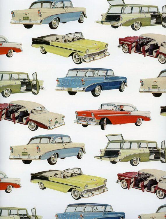 Coches clásicos papel papel de regalo de coches clásicos