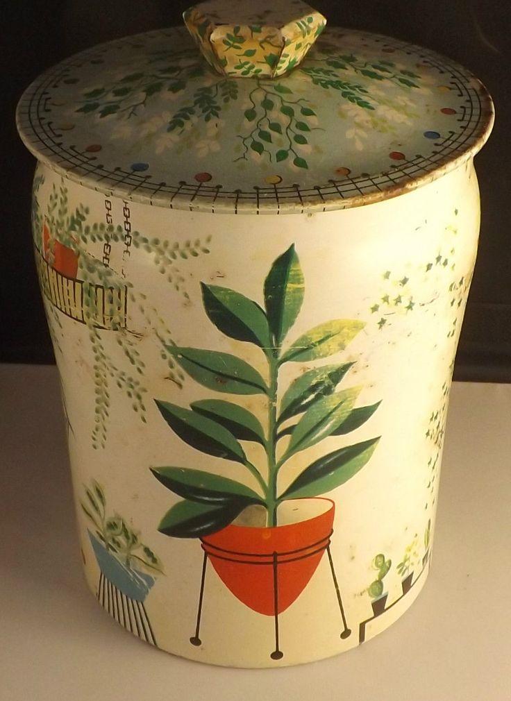 1950s-'60s Horner's biscuit tin with a groovy sputnik planter