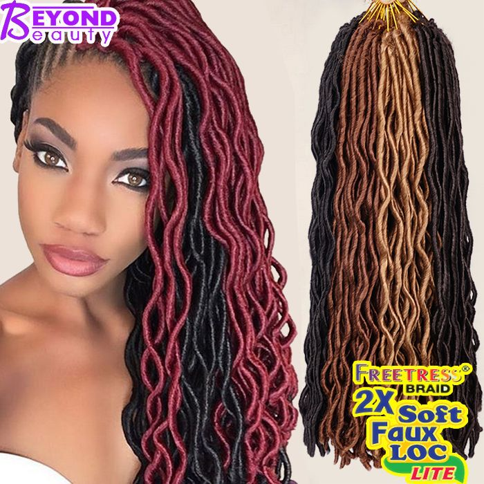 2x Wavy Janet Collection Havana Mambo Faux Locs 24Roots Faux Locs Crochet Hair Extensions 24'' Crochet Braids Goddess Faux Locs