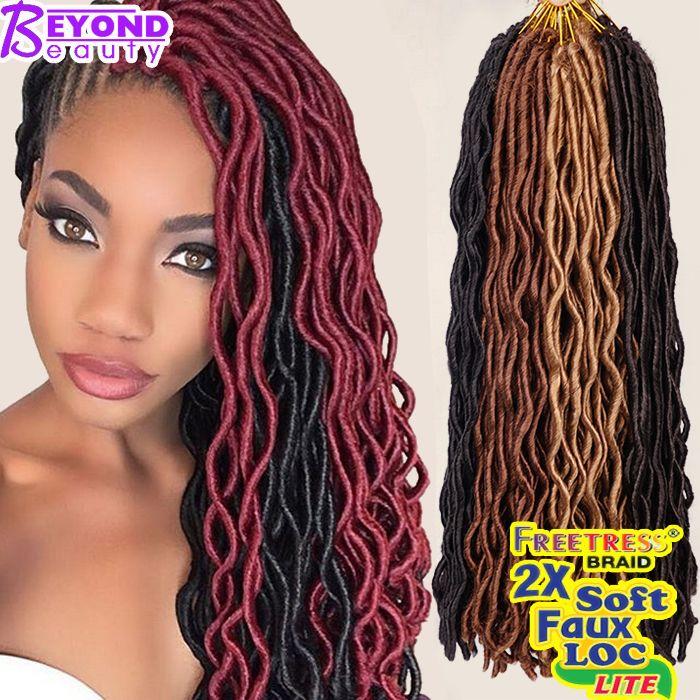 2x Wavy Janet Collection Havana Mambo Faux Locs 24Roots Faux Locs Crochet Hair Extensions 24'' Crochet Braids Goddess Faux Locs