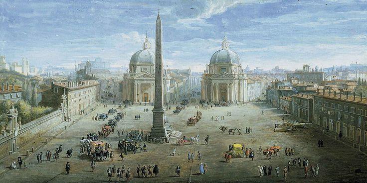 View of Piazza del Popolo, Gaspar Van Wittel, 1718