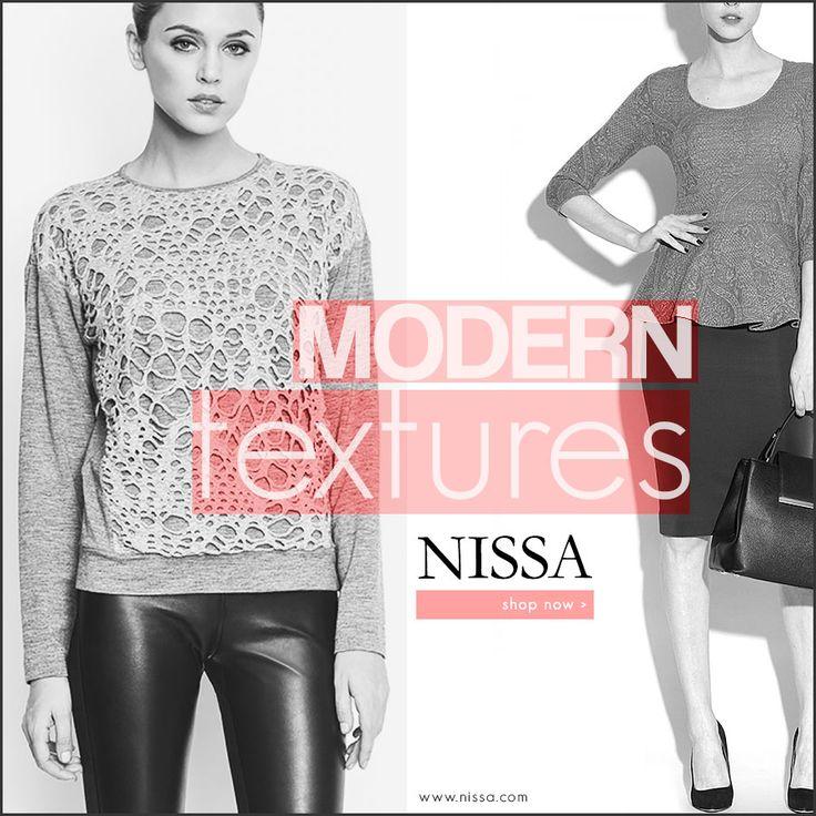 NISSA Modern Textures www.nissa.com  #nissa #texture #modern #top #bluza #style #outfit #fashion #fashionista