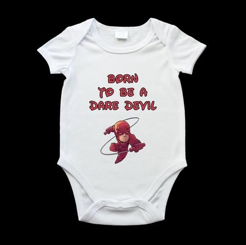 Born to be a Dare Devil baby onesie, romper suit, funny Superhero baby onesie