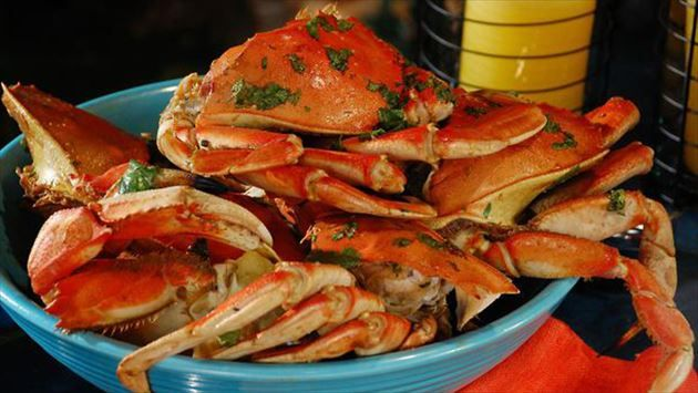 Get Dungeness Crabs Steamed on the Grill in Ginger, Lime, Mirin and Soy Recipe from Food Network
